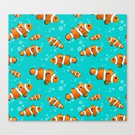 Tropical Clownfish Pattern Canvas Print