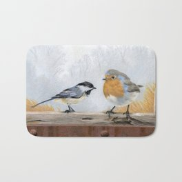 Misty Morning Meadow Cropped- Chickadee and European Robin Bath Mat
