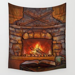 Fireplace (Winter Warming Image) Wall Tapestry