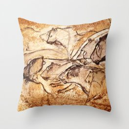 Panel of Lions // Chauvet Cave Throw Pillow