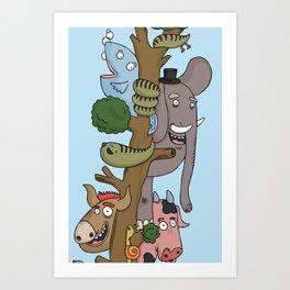 The Animals of the Jungle Tree Art Print