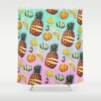 ninja Shower Curtains featuring Fruit Ninja by Zeke Tucker
