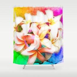 Yoga Om Frangipani Pagoda Flower Shower Curtain