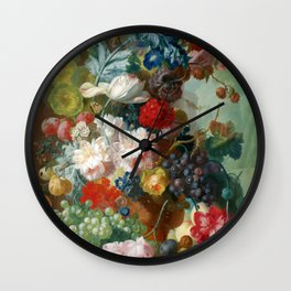 "Jan van Os ""Fruit and Flowers in a Terracotta Vase"" Wall Clock"
