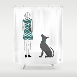 Photographer girl and dog Shower Curtain