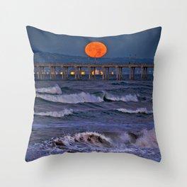 Christmas Moonset Huntington Beach Pier  12/25/15 Throw Pillow