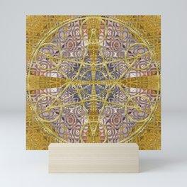 Golden Steampunk Geometry Star Mini Art Print