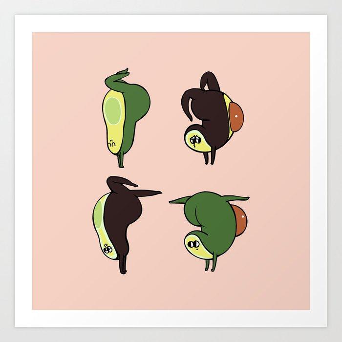 Handstand Avocado Art Print