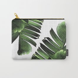Banana Leaf - Tropical Leaf Print - Botanical Art - Modern Abstract - Green, Olive Carry-All Pouch