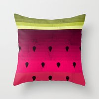 watermelon Throw Pillows featuring Watermelon by Kakel
