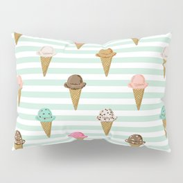 ice cream cones flavors mint stripes food fight apparel and gifts Pillow Sham