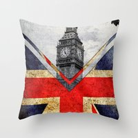uk Throw Pillows featuring Flags - UK by Ale Ibanez