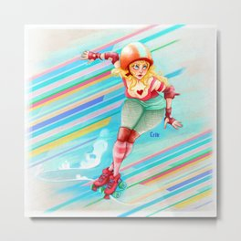 roller derby girl Metal Print