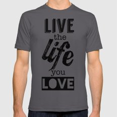 Live Life Love LARGE Asphalt Mens Fitted Tee