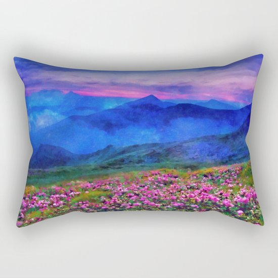 Flowering mountains in the clouds Rectangular Pillow