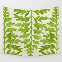 lime Wall Tapestries featuring Lime Fern by Cat Coquillette