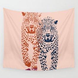 Kitten Club - Navy, Orange & Purple Leopard Print by Kristen Baker Wall Tapestry