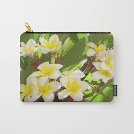 White and Yellow Frangipani Flowers with Leaves in Background  Carry-All Pouch