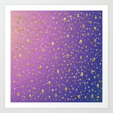 many small golden squares on a delicate rainbow background Art Print