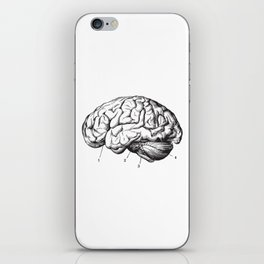 Human Brain Sideview Anatomy Detailed Illustration iPhone Skin