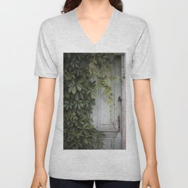 Old wooden door Unisex V-Neck