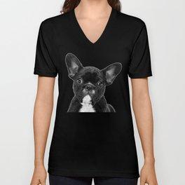 Black and White French Bulldog Unisex V-Neck