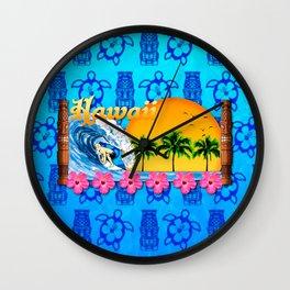 Hawaiian Surfing And Tiki Pattern Wall Clock