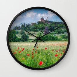 Italian Villa atop the Hill amid fields of Red Poppy, Tuscany, Italan landscape painting Wall Clock