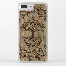 Triquetra - Tree of life -Wooden Texture Clear iPhone Case