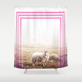 Sheep - pink graphic Shower Curtain
