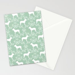 Pitbull floral silhouette pet portrait cute dog lover rescue dog lover pitbulls portrait dog breeds Stationery Cards