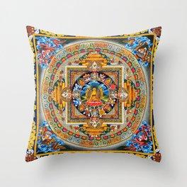 Buddhist Mandala Gold Tangka Wisdom Throw Pillow