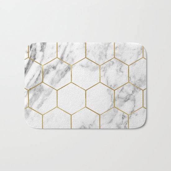Gold marble hexagon pattern Bath Mat