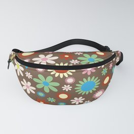 Flowers, Petals, Blossoms - Red Green Blue Brown Fanny Pack