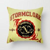 skyrim Throw Pillows featuring Stormcloak University(Skyrim) by Chubbybuddhist