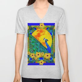 YELLOW HIBISCUS FULL GOLDEN MOON  BLUE PEACOCKS Unisex V-Neck