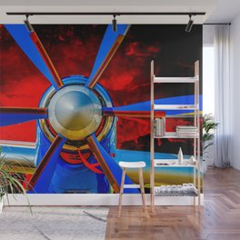 Blue Propeller Of A Modern Aircraft. Red Sky Wall Mural