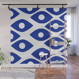 Blue and White Pattern Fish Eye Design Wall Mural
