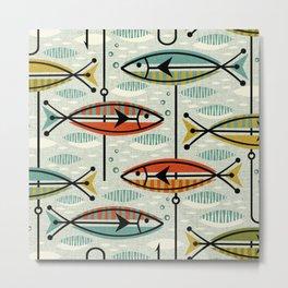 Vintage Color Block Fish Metal Print