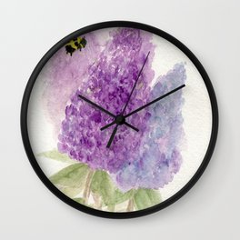 Watercolor Lilacs Spring Garden Flowers Wall Clock