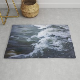 Rushing Blue Water and White Waves; water in motion  Rug