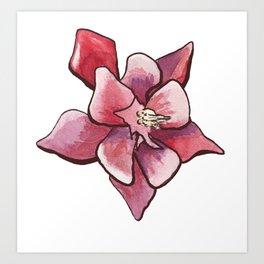 Aquilegia Columbine Flower in aquarelle Art Print