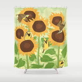 Sunbathing Meadowlarks Shower Curtain