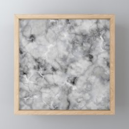 Grey and Silver Veined Faux Marble Repeat Framed Mini Art Print
