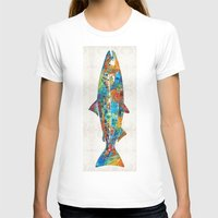 spawn T-shirts featuring Fish Art Print - Colorful Salmon - By Sharon Cummings by Sharon Cummings