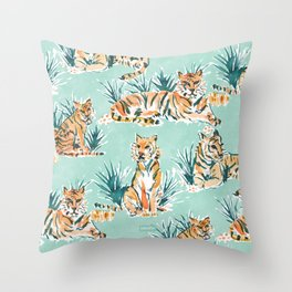 LAZY TIGERS Watercolor Cats Throw Pillow