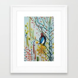 sous les branches Framed Art Print