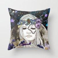 luna Throw Pillows featuring Luna by Jenndalyn
