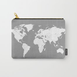 Minimalist World Map in Grey Carry-All Pouch