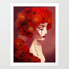 Red Poppy Girl Alternate Art Print